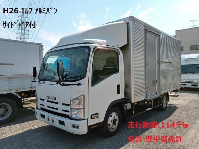 H26年 TKG-NPR85AN いすゞ エルフ アルミバン サイドドア付 6MT1